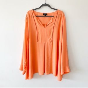 Lane Bryant Peach Popover Tunic Roll Sleeves 26/28
